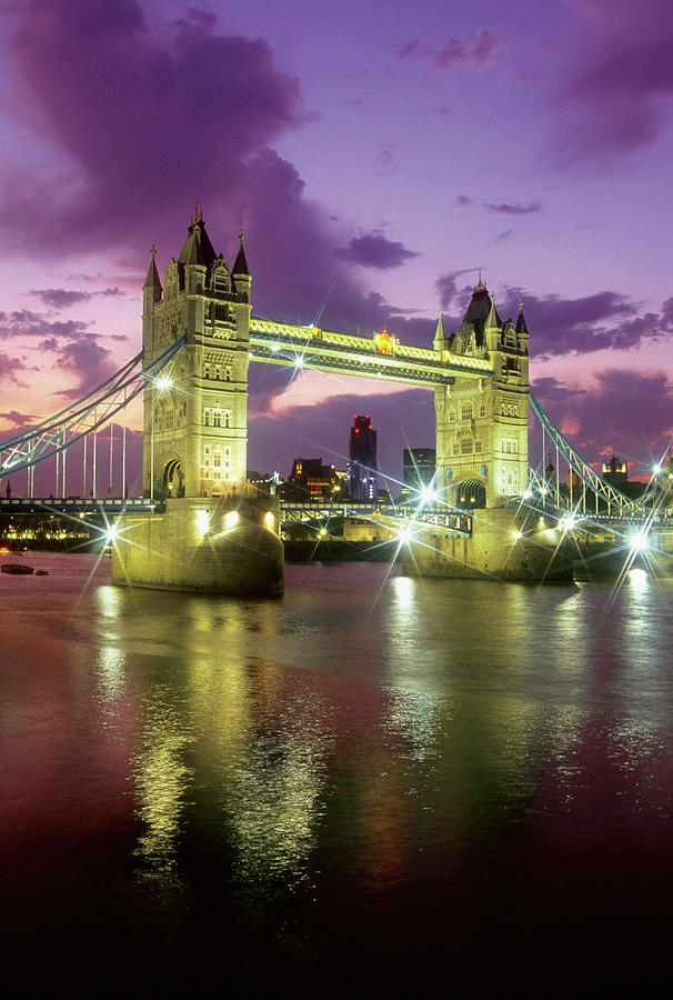 Tower Bridge At Night, London, England Photograph by Medioimages/photodisc