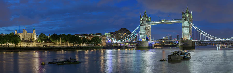 Tower of London and Tower Bridge at Night Panoramic by Adam Romanowicz