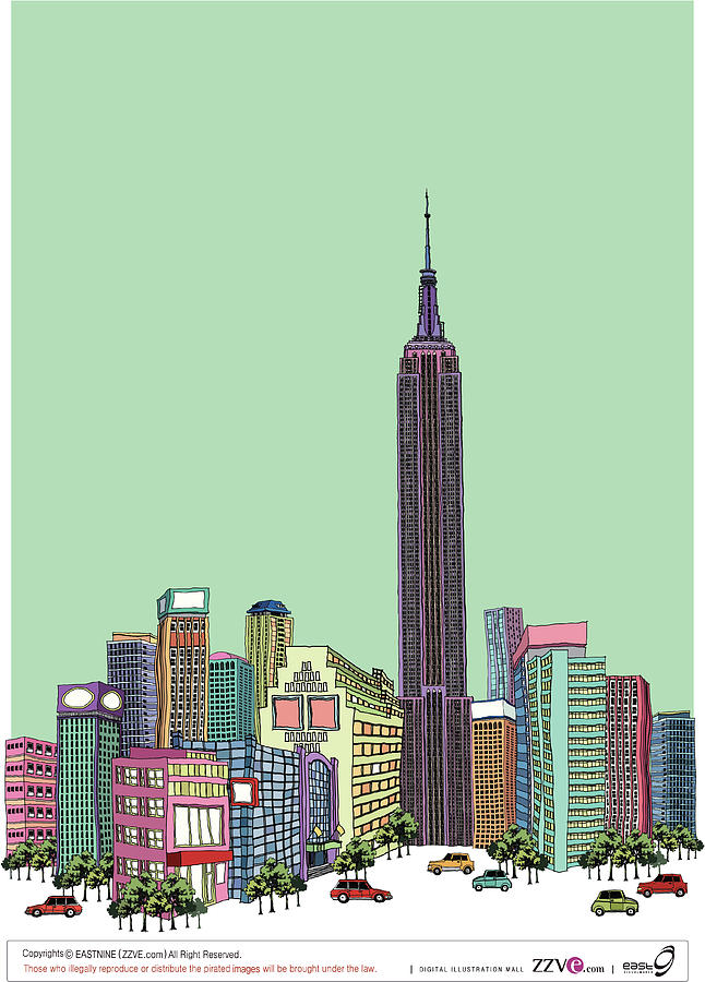 Tower With Buildings Against Clear Sky Digital Art by Eastnine Inc.