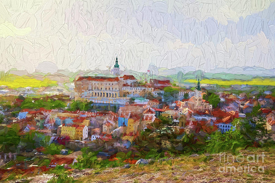 Town of Mikulov - painterly by Les Palenik