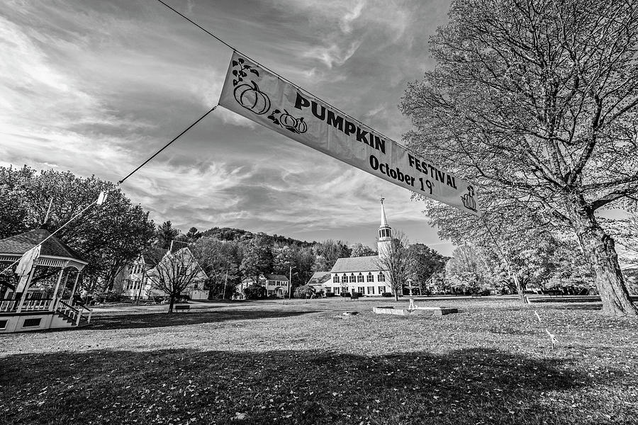Townshend VT Autumn Day Church Vermont Pumpkin Festival Black and White by Toby McGuire