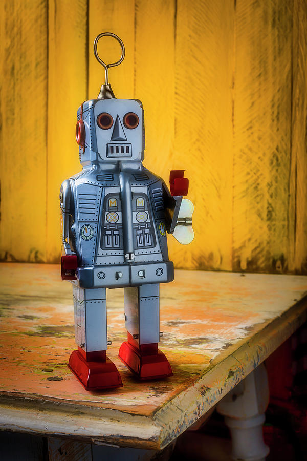 Vertical Photograph - Toy Robot On Old Table by Garry Gay