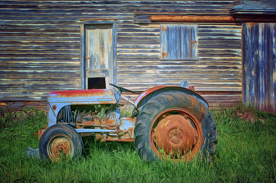 Tractor and Outbuilding - Farm by Nikolyn McDonald