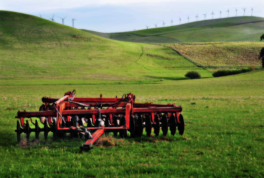 Tractor Blades On Green Pasture Photograph by Mitch Diamond