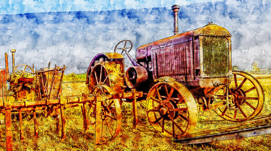 Tractor watercolor drawing by Hasan Ahmed