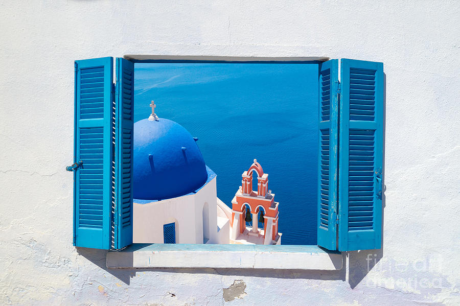 Door Photograph - Traditional Architecture Of Oia Village by Yiannis Papadimitriou