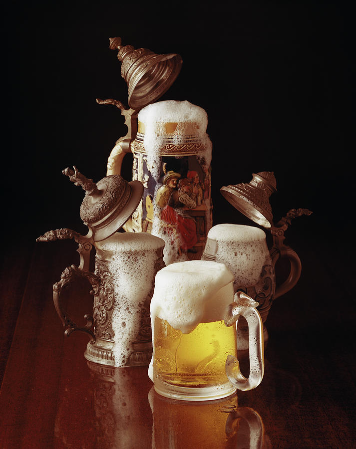Traditional Beer Stein And Beer Glass Photograph by Tom Kelley Archive