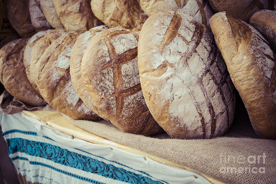 Basket Photograph - Traditional Bread In Polish Food Market by Curioso