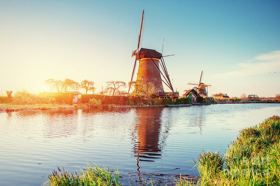 Country Photograph - Traditional Dutch Windmills by Standret