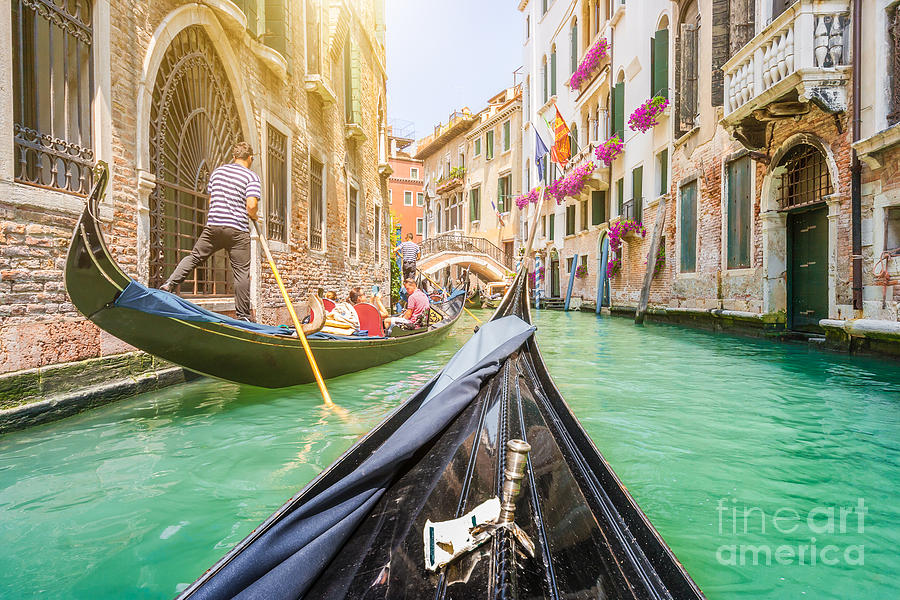 Channel Photograph - Traditional Gondolas On Narrow Canal In by Canadastock