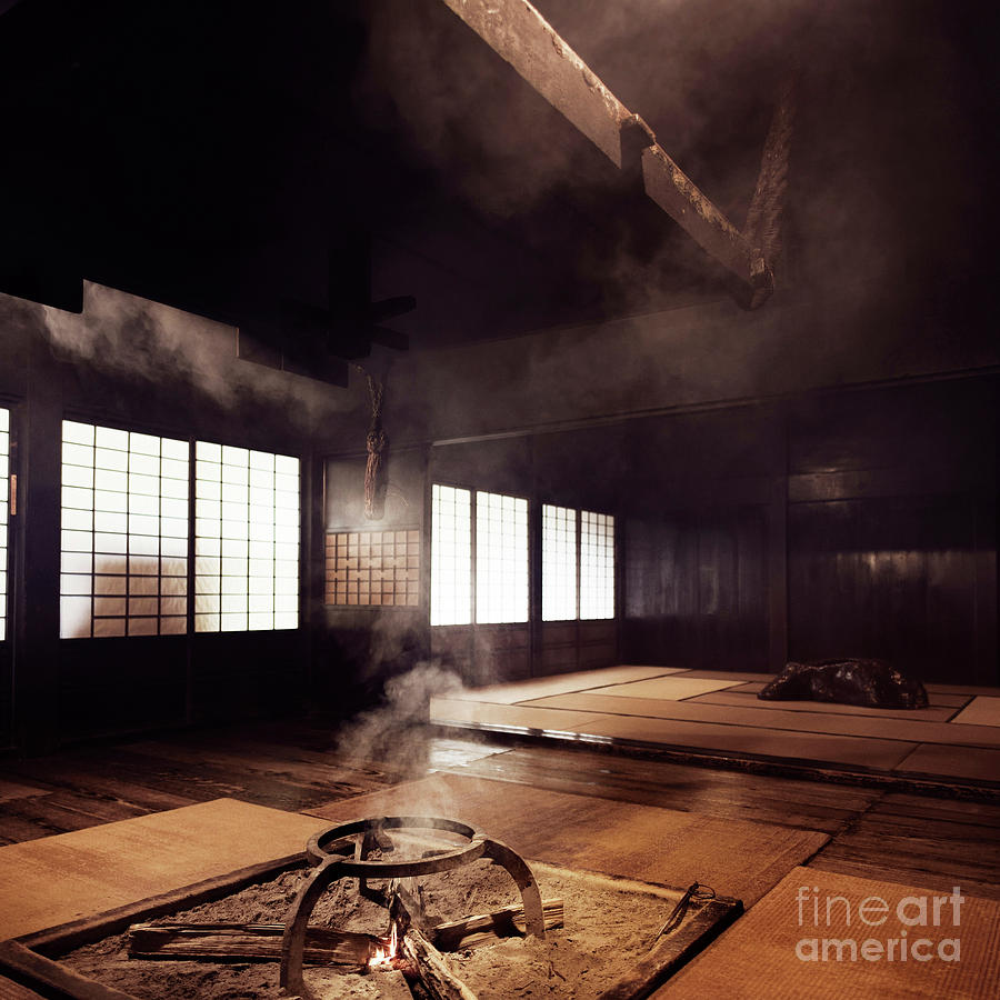 Traditional Japanese Gassho House Interior With An Open