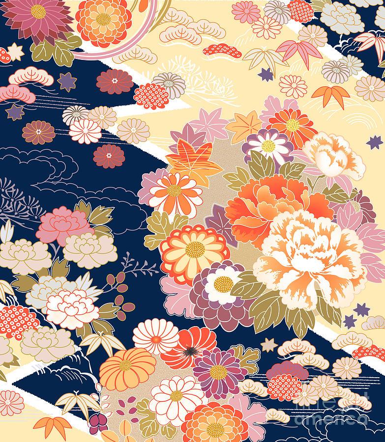 Cherry Digital Art - Traditional Kimono Motifs by Malamalama