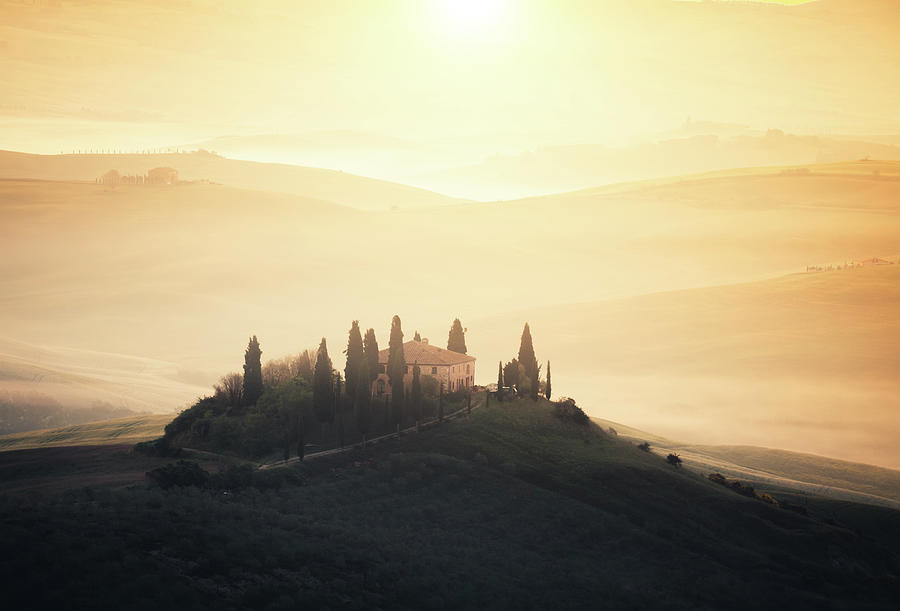 Traditional Tuscan Farmhouse At Sunrise Photograph by Borchee
