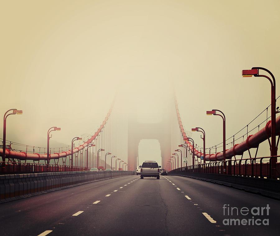 Francisco Photograph - Traffic Crossing A Foggy Golden Gate by Stuart Monk