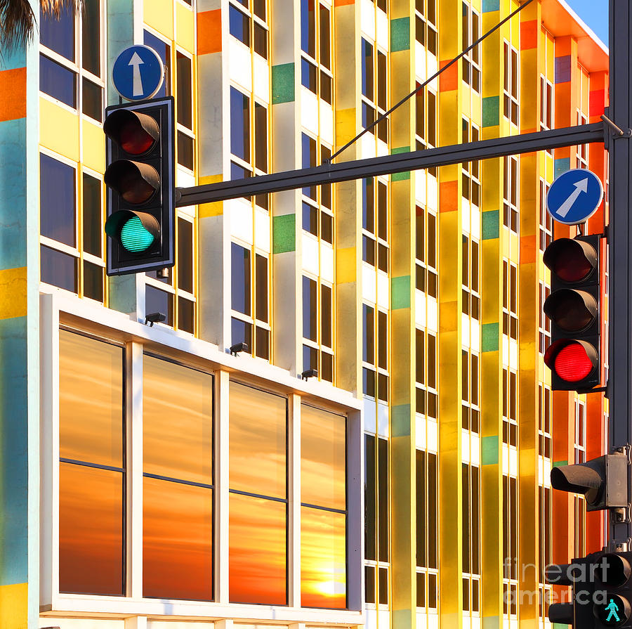 Symbol Photograph - Traffic Lights Against Colorful by Protasov An