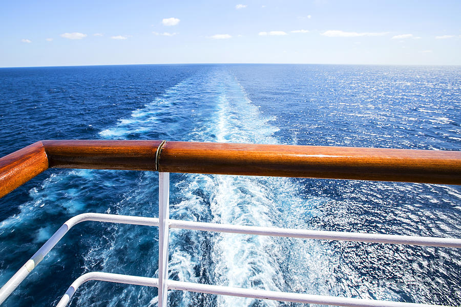 Foam Photograph - Trail On Water Surface Behind Of Cruise by May lana