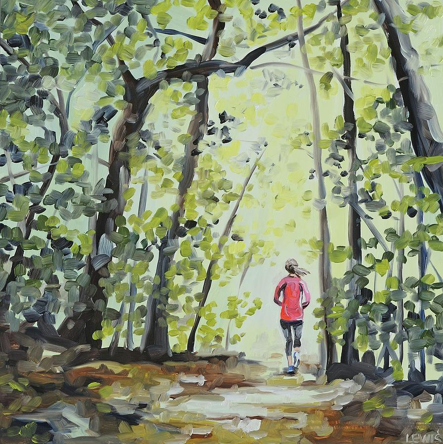 Rock Creek Park Painting - Trail Run by Anne Lewis