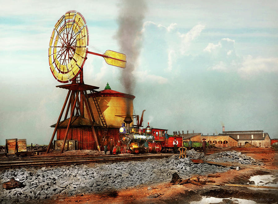 Train - Civil - The windmill at Laramie 1869 by Mike Savad