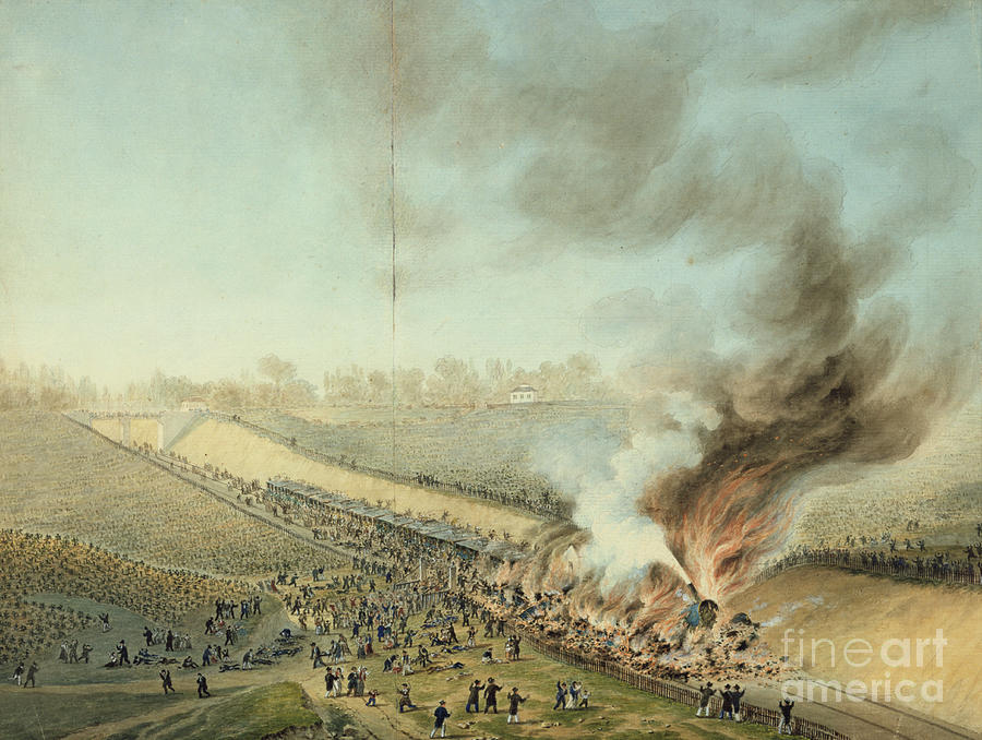 Train Crash At Bellevue In 1842 19th Drawing by Print Collector