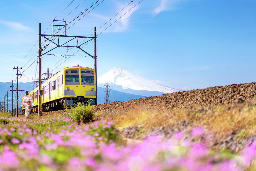 Train from station Fuji go to Tokyo by Anek Suwannaphoom