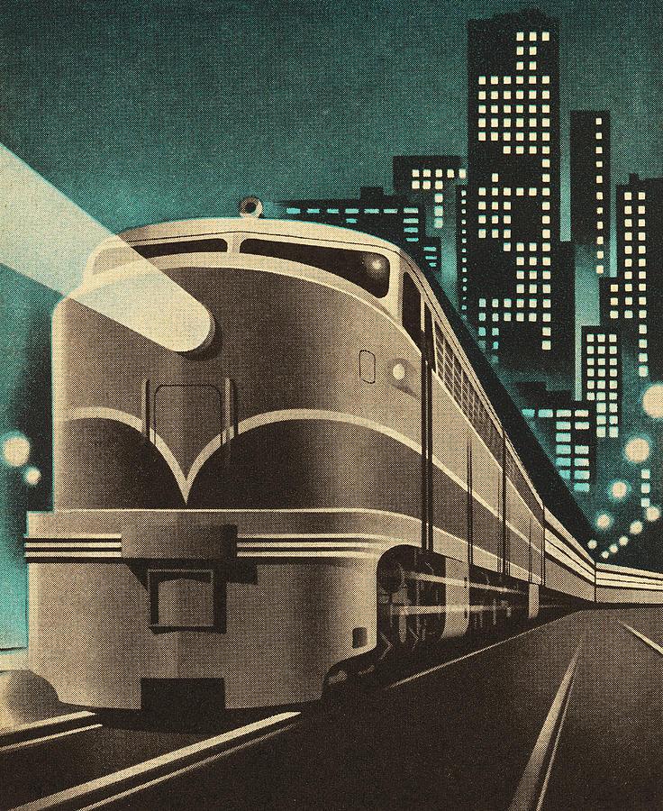 Train Leaving City Digital Art by Csa Images
