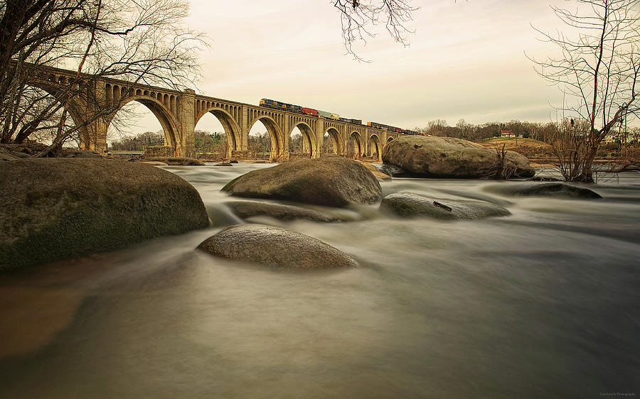 Train Over James River Photograph by Tom Lynch Photography Llc