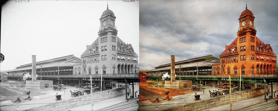 Train Station - Richmond VA - The Main Street Station 1905 - Side by Side by Mike Savad