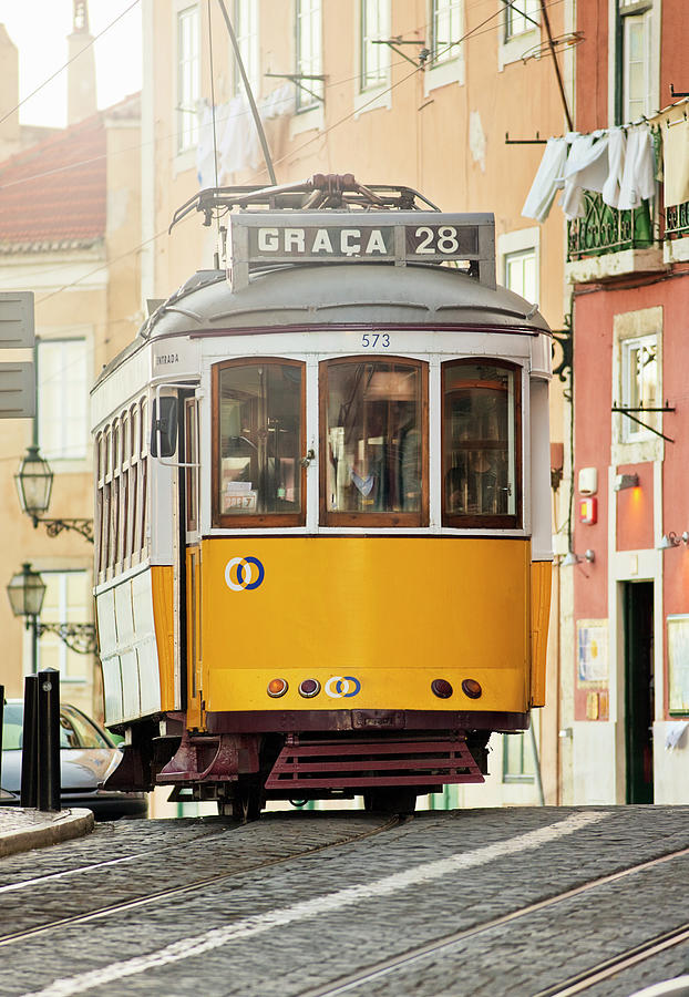 Tram In The Old Part Of Lisbon Graca Photograph by Gregor Schuster