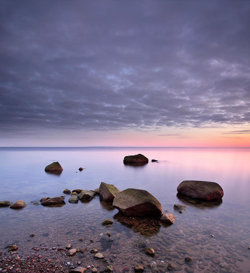 Tranquil Seascape With Huge Boulder In By Avtg