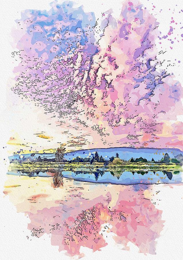 Trans Canada Trail, Pitt Meadows, Canada watercolor by Ahmet Asar by Ahmet Asar