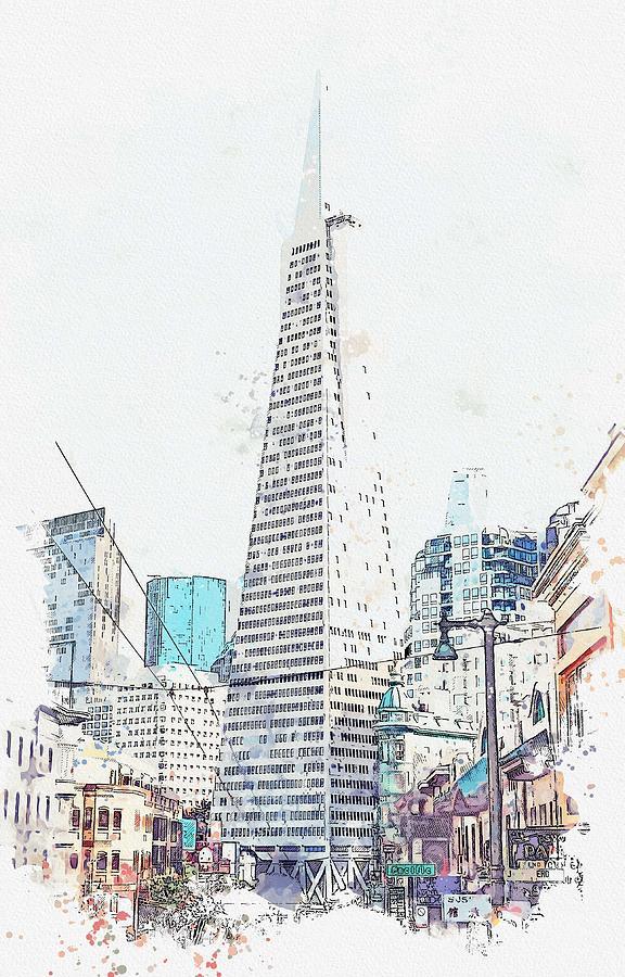 Transamerica Pyramid, San Francisco, United States watercolor by Ahmet Asar by Ahmet Asar