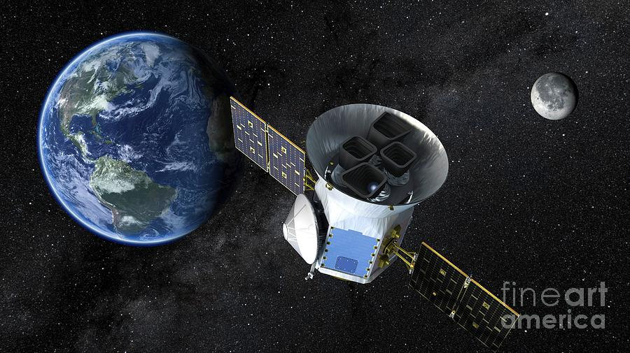 Spacecraft Photograph - Transiting Exoplanet Survey Satellite In Space by Nasa/mit/tess/science Photo Library