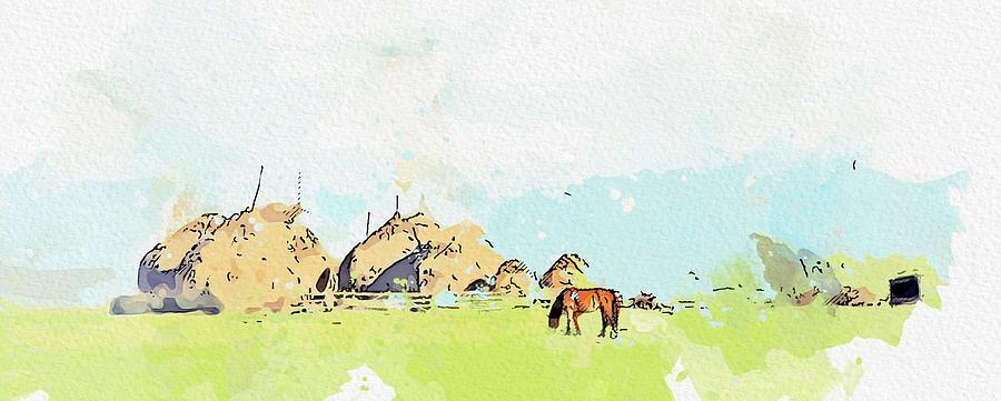 Transylvania Mountains watercolor by Ahmet Asar by Ahmet Asar
