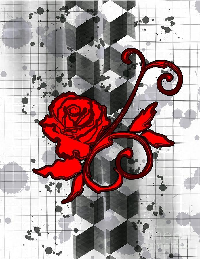 trash polka art red rose sarah niebank - Trash Polka Tattoo Art
