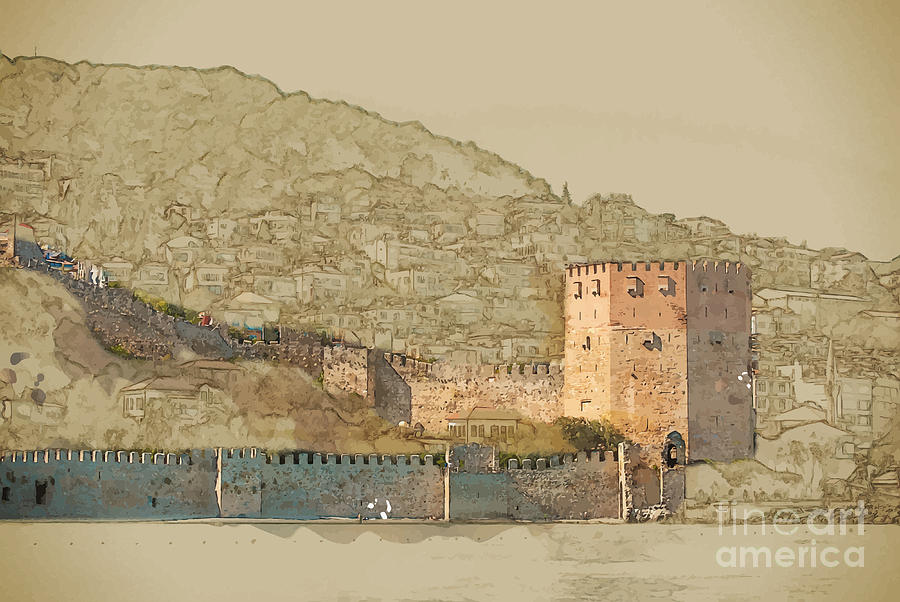 Castle Digital Art - Travel Background In Vector Format by Romas photo