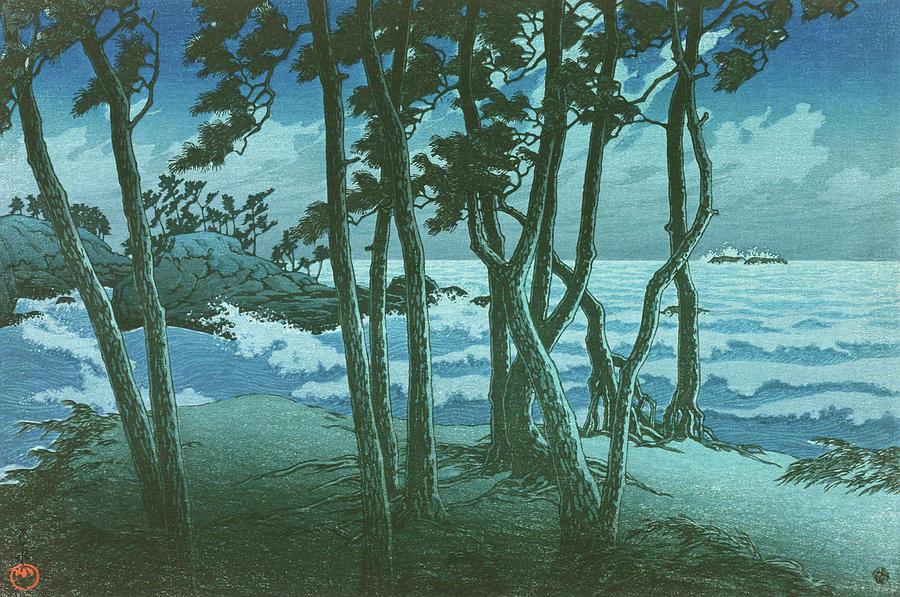 Ukiyoe Painting - Travel souvenir third collection, Izumo, Hinomisaki - Digital Remastered Edition by Kawase Hasui