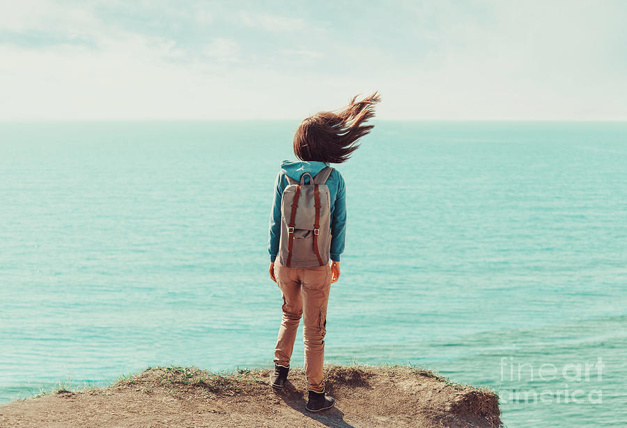 Woman Photograph - Traveler Young Woman With Backpack by Poprotskiy Alexey