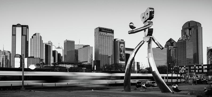 Traveling Man - Dallas Skyline Panorama - Black and White by Gregory Ballos