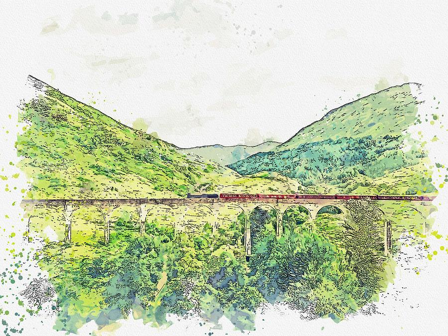 Traveling over Glenfinnan viaduct, Glenfinnan, Scotland watercolor by Ahmet Asar by Celestial Images