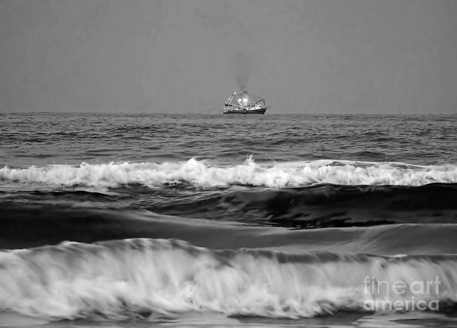 Trawler On The Horizon BW by D Hackett