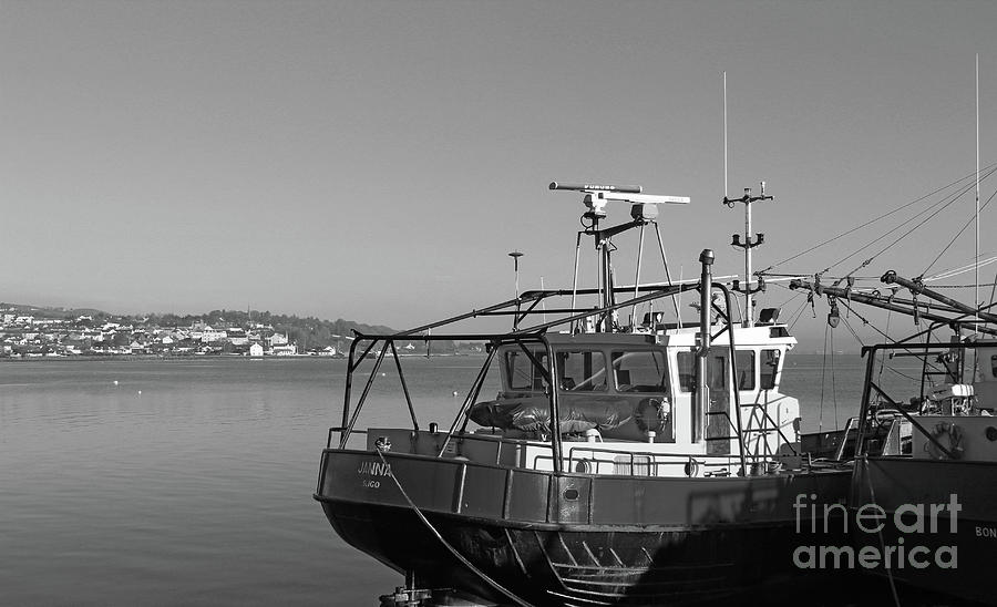 Trawlers at Moville bw Donegal by Eddie Barron