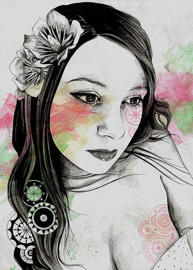 Magnolia Drawing - Treasure - Young Cute Girl, Magnolia And Mandalas by Marco Paludet