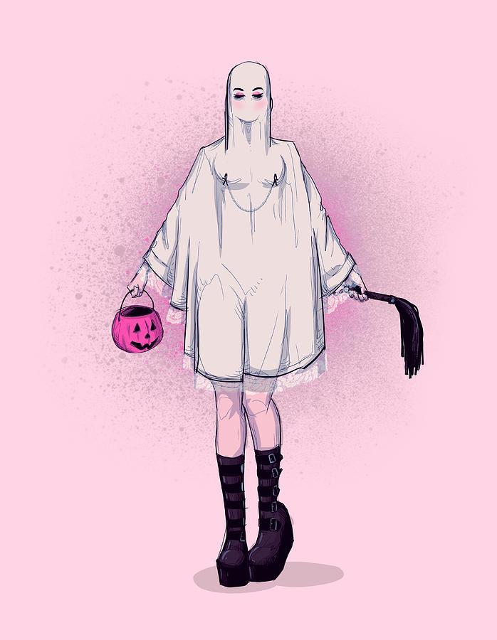 Halloween Drawing - Treat by Ludwig Van Bacon