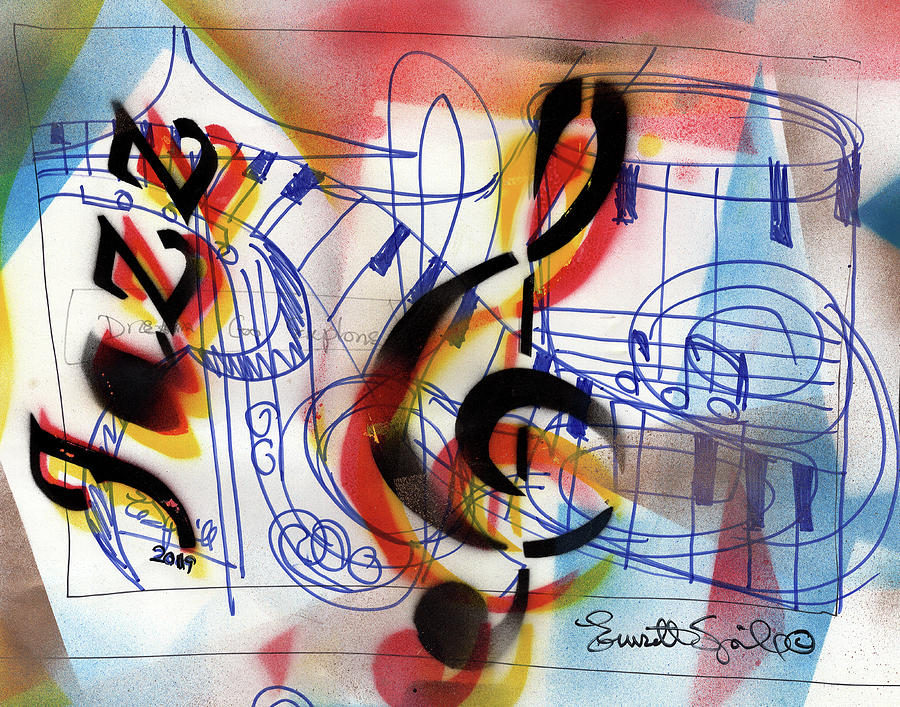 Cubism Mixed Media - Treble Clef Abstract by Everett Spruill