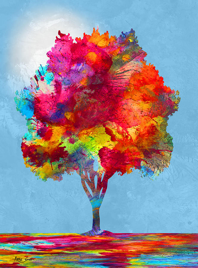 Tree 20, Mixed Media, Artist SinGh Mixed Media by ArtGuru Official MAPS