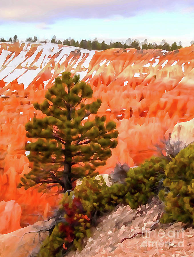 Tree in Bryce Canyon - Photopainting by Bob Lentz