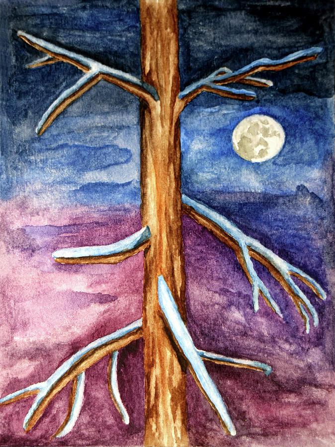 Tree in Winter Moonlight by Robert Morin