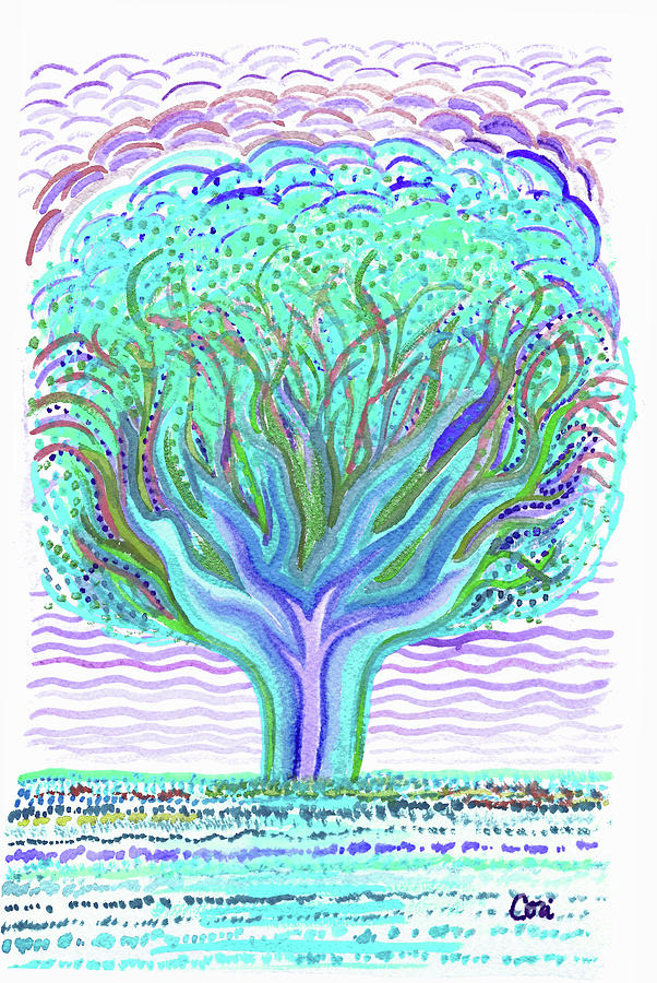 Tree of Ages in Blue by Corinne Carroll