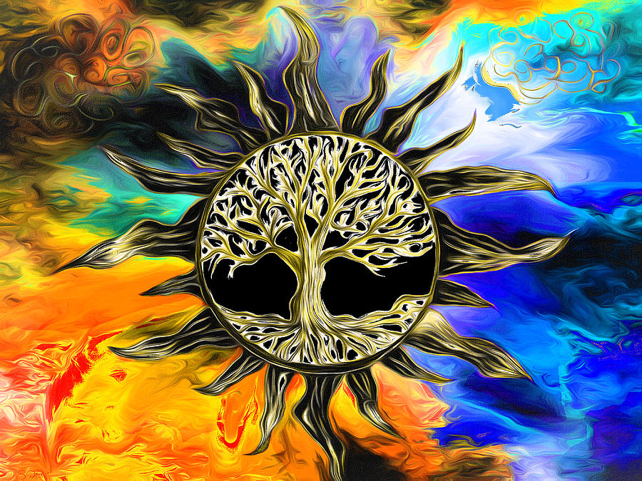 Tree Of Life Inside The Black Sun by Abstract Angel Artist Stephen K