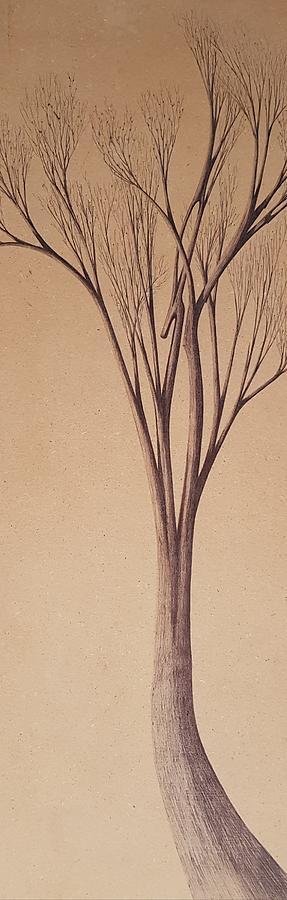 Tree On Wood Drawing